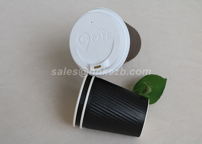 Disposable Insulated Ripple Hot Coffee Paper Cups With Lids Black Color 12 Oz