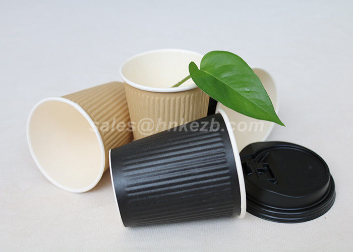 12oz Disposable Ripple Vending Paper Cups Single Wall For Hot Coffee / Tea