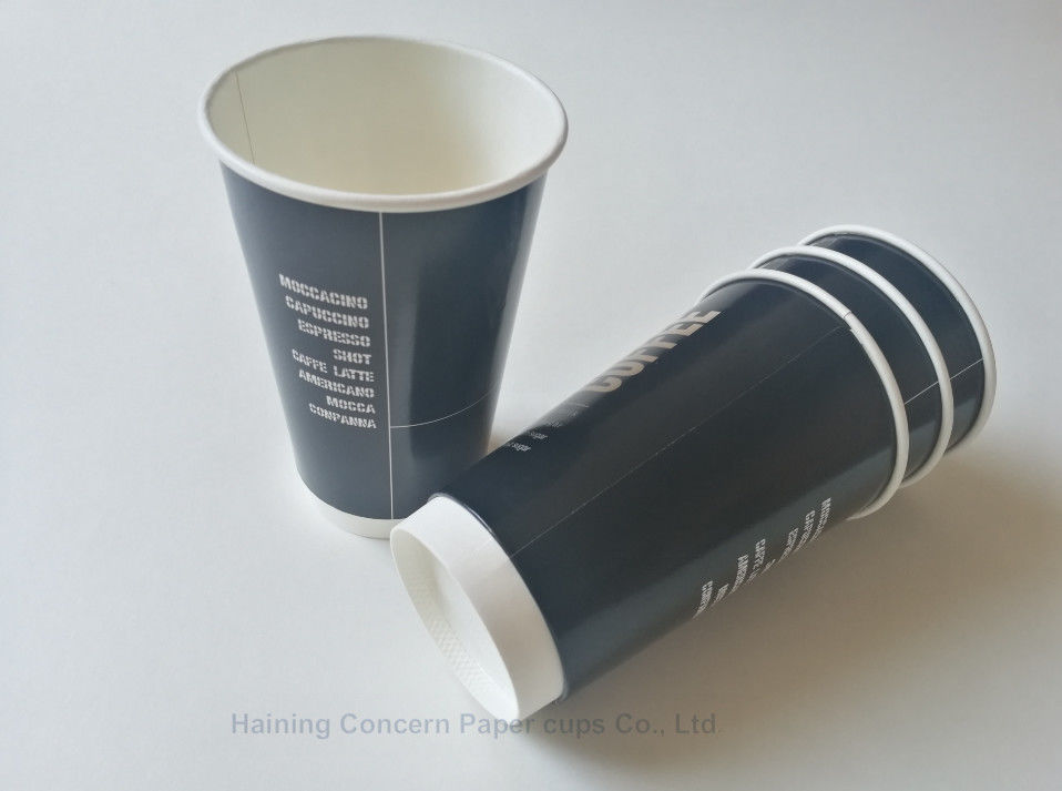 500ml Double Walled Paper Coffee Cups With Shinny Printing For Hot Beverages