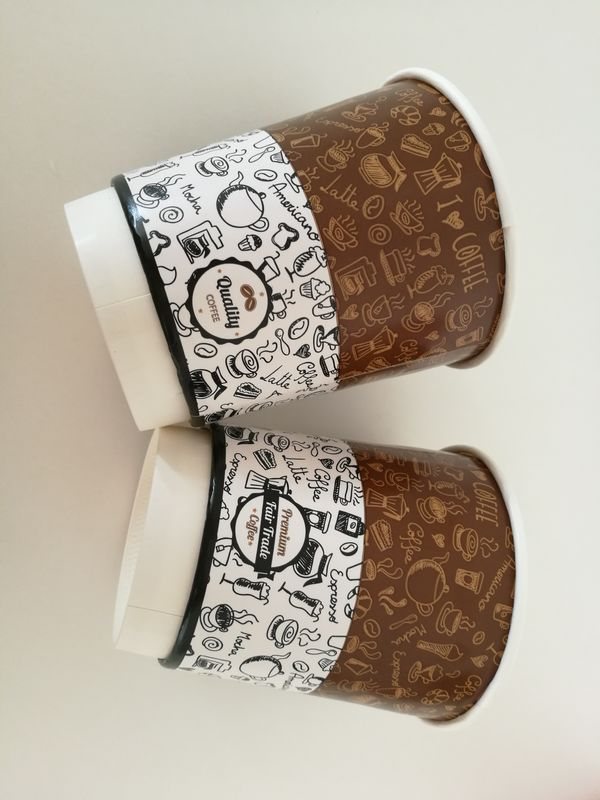 Insulated double wall paper cup for coffee hot drinks with lids different sizes